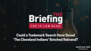 Title image, reading 'Could a Trademark Search Have Saved 'The Cleveland Indians' Botched Rebrand'