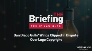 The Briefing Title image, with words reading 'San Diego Gulls' Wings Clipped in Dispute Over Logo Copyright'